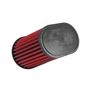 AEM DryFlow - 21-2138DK Oval Tapered Universal Air Filters - Flange Inside Dia. 3 in (76 mm) - Flange Length 1 in (25 mm)