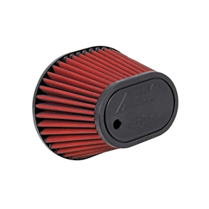 AEM DryFlow - 21-2148D-HK Oval Tapered Universal Air Filters - Flange Inside Dia. 3.5 in (89 mm) - Flange Length 1.563 in (40 mm)