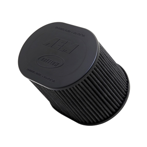 AEM DryFlow - 21-2257BF Oval Tapered Universal Air Filters - Flange Inside Dia. 4 in (102 mm) - Flange Length 1.5 in (38 mm)