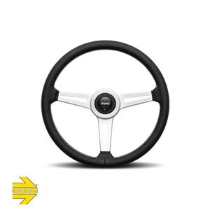 MOMO® RETRO 360mm Steering Wheel - Black Leather with White Stitch