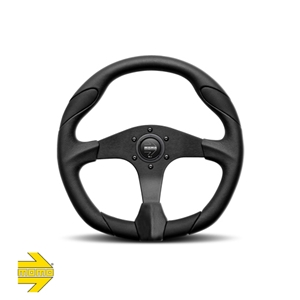 MOMO® QUARK Steering Wheel - Black Polyurethane with Black Airleather Inserts