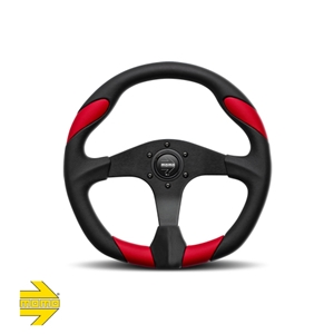 MOMO® QUARK Steering Wheel - Black Polyurethane with Red Leather Inserts