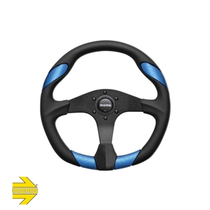 MOMO® QUARK Steering Wheel - Black Polyurethane with Blue Leather Inserts
