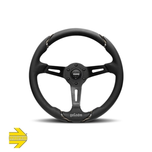 MOMO® GOTHAM Steering Wheel - Black Leather with Dark Chrome Inserts