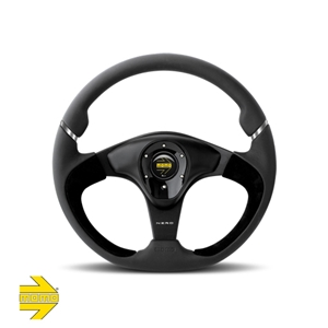 MOMO® NERO Steering Wheel - Black Leather/Suede with Satin Finish Inserts