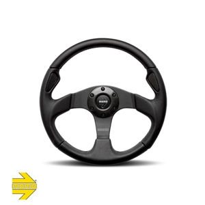 MOMO® JET 350mm Steering Wheel - Black Leather with Carbon Inserts