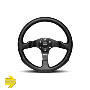 MOMO® COMPETITION Steering Wheel - Black Leather with Anodized Black Aluminum Ring