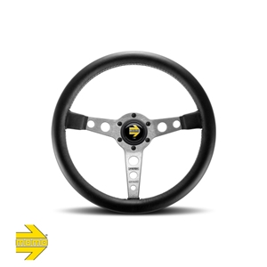MOMO® PROTOTIPO Steering Wheel - Black Leather with Silver Spokes