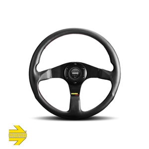 MOMO® TUNER 320mm Steering Wheel - Black Leather with Red Stitching