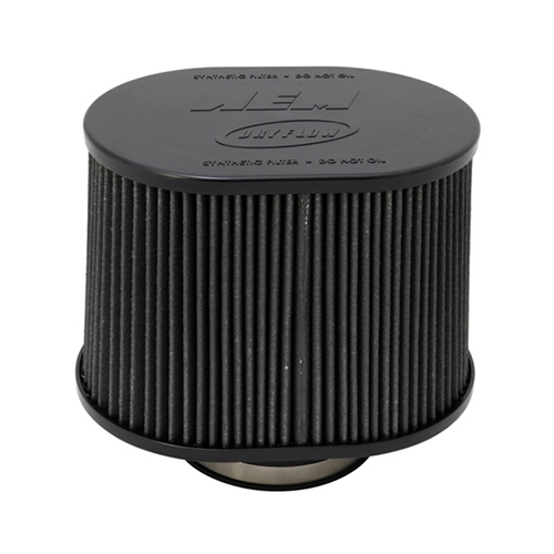 AEM DryFlow - 21-2279BF Oval Tapered Universal Air Filters - Flange Inside Dia. 5 in (127 mm) - Flange Length 1.5 in (38 mm)