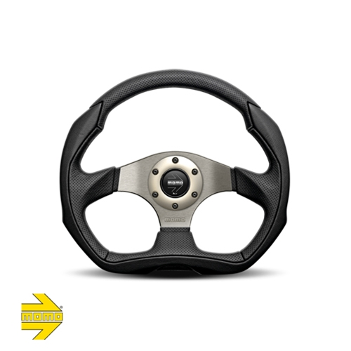 MOMO® EAGLE Steering Wheel - Black Leather with Black Airleather Inserts