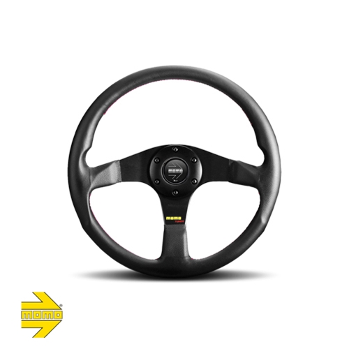 MOMO® TUNER 350mm Steering Wheel - Black Leather with Red Stitching